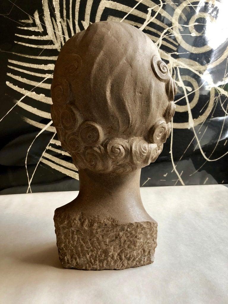 Art Deco Sculpture Flapper Womans Head Xenozane Marble Stone For Sale 2