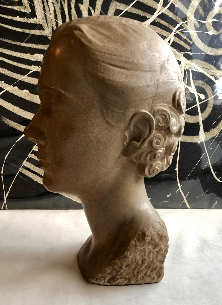 Art Deco Sculpture Flapper Womans Head Xenozane Marble Stone For Sale 3