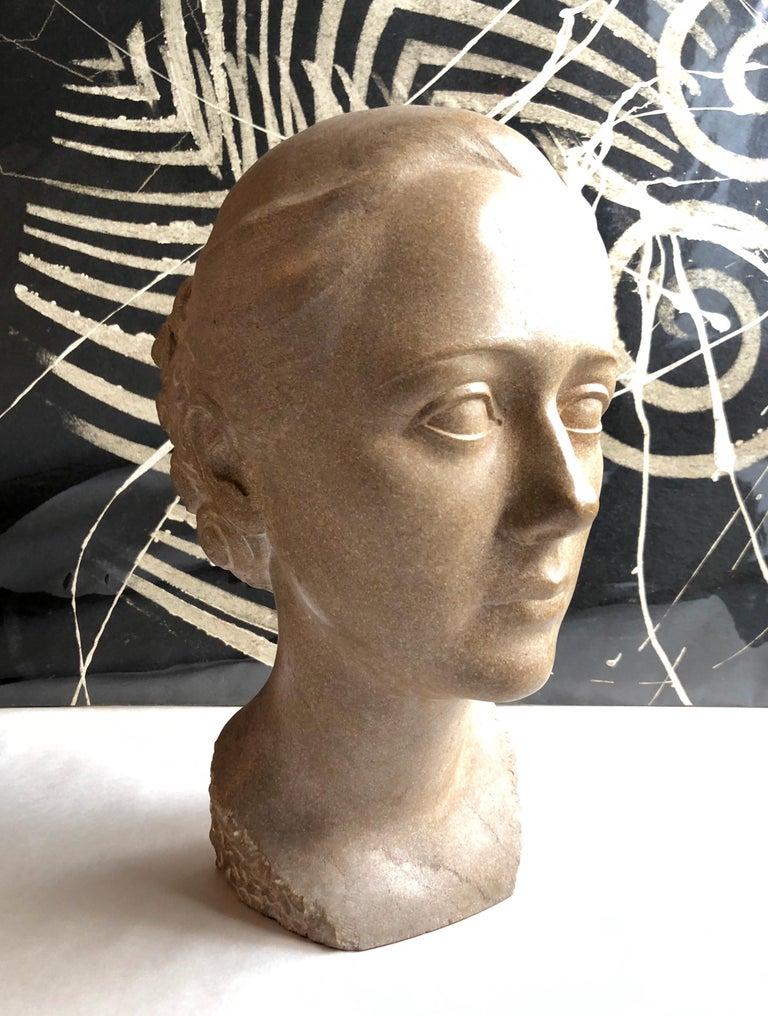 Art Deco Sculpture Flapper Womans Head Xenozane Marble Stone For Sale 4