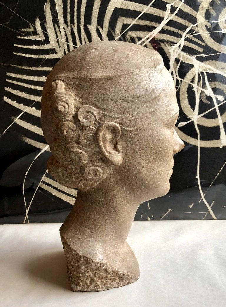 Art Deco Sculpture Flapper Womans Head Xenozane Marble Stone For Sale 5