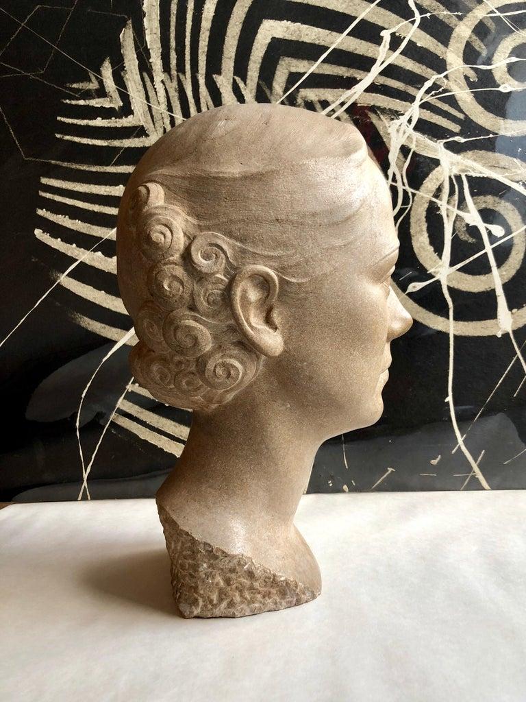 Art Deco Sculpture Flapper Womans Head Xenozane Marble Stone For Sale 6