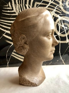 Art Deco Sculpture Flapper Womans Head Xenozane Marble Stone