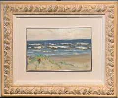 """Beach on the ocean"" summer, dunes, sea Oil cm. 33 x 22  1982"