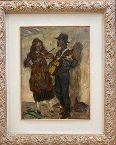 """Musicians, guitar, violin"" Oil cm.30 x40 1960"