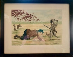 "Framed French Engraving ""Le rêve du chien"", A Dog's Dream"