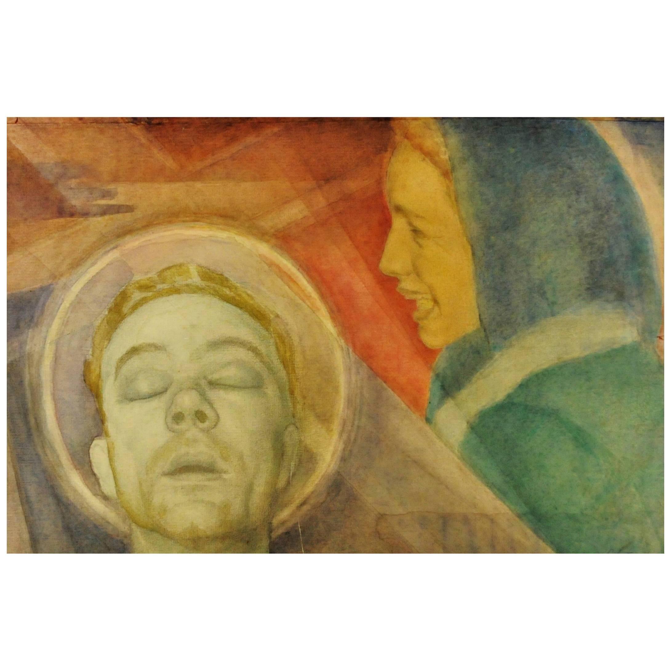 Boris Solotareff, Double-Portrait, Watercolor and Gouache on Paper, 1920s