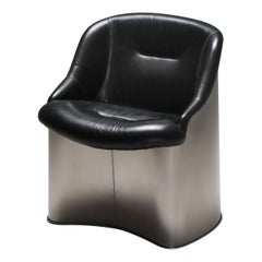 Boris Tabaccof Leather and Metal Easy Chair