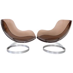 "Boris Tabacoff by Editions MMM Pair of French ""Sphere"" Lounge Chairs c 1971"