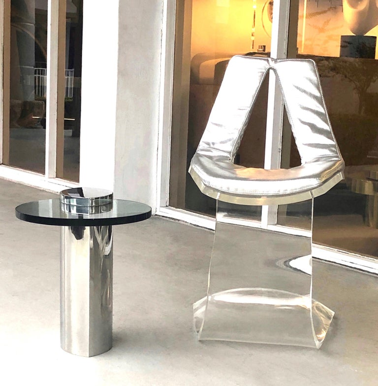 Boris Tabacoff Pair of Dumas Chairs with Original Silver Upholstery, 1970 In Good Condition For Sale In Miami, FL