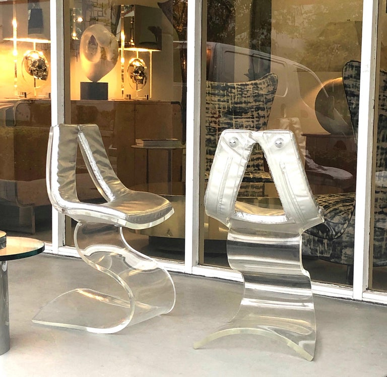 Late 20th Century Boris Tabacoff Pair of Dumas Chairs with Original Silver Upholstery, 1970 For Sale