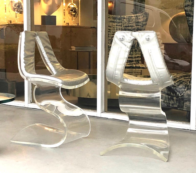Boris Tabacoff Pair of Dumas Chairs with Original Silver Upholstery, 1970 For Sale 1