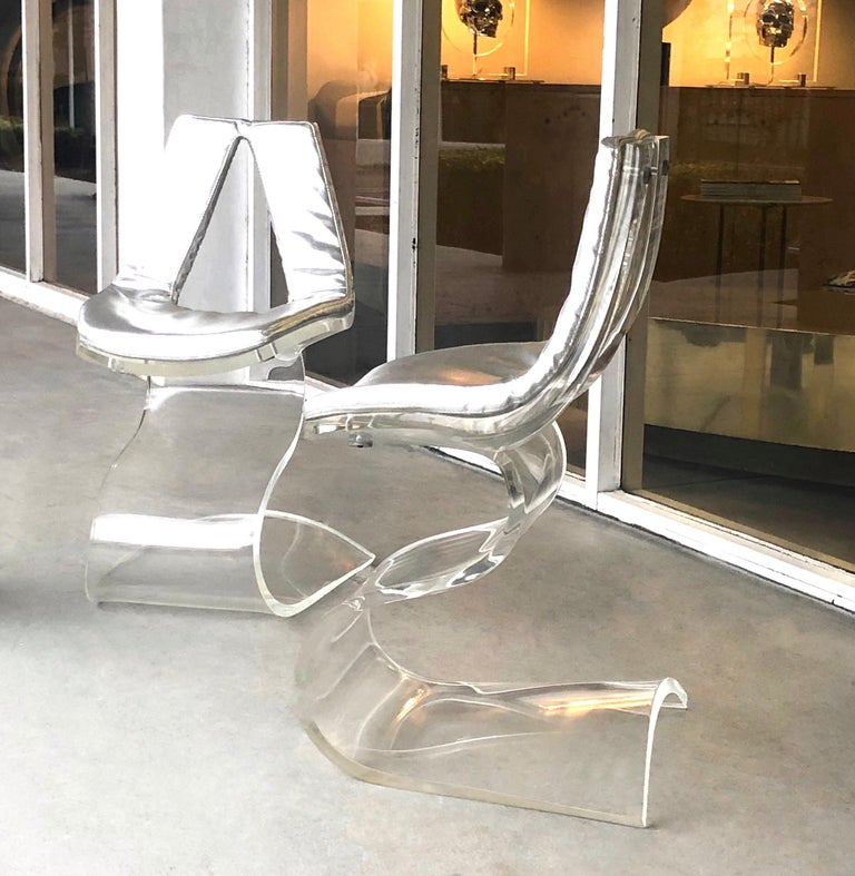 Boris Tabacoff Pair of Dumas Chairs with Original Silver Upholstery, 1970 For Sale 2