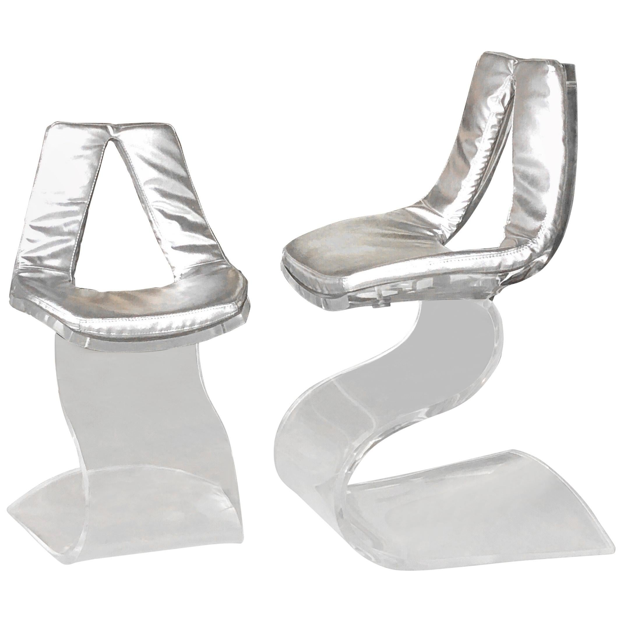 Boris Tabacoff Pair of Dumas Chairs with Original Silver Upholstery, 1970
