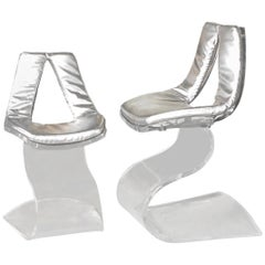Boris Tabacoff Pair of Dumas Chairs with Original Silver Upholstery, 1970