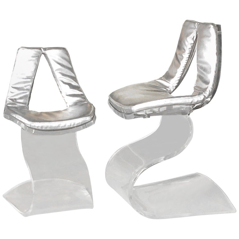 Boris Tabacoff Pair of Dumas Chairs with Original Silver Upholstery, 1970 For Sale