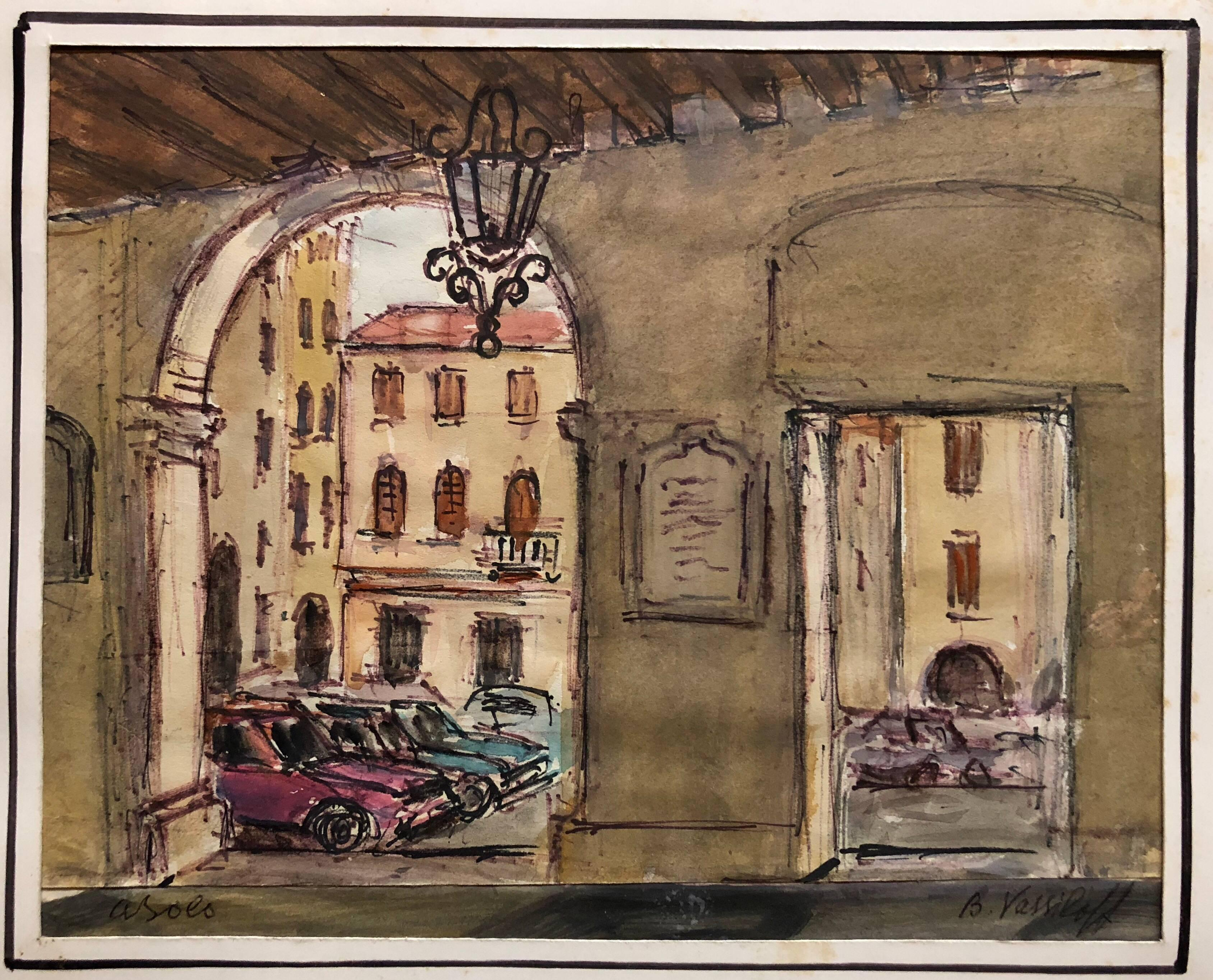 European Architectural Colonnaded Arcade Watercolor Painting