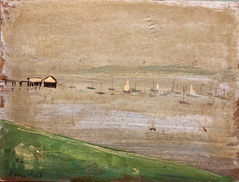 Marinescape with Boat Long Island NYC Oil Painting - Beige Landscape Painting by Boris Vassiloff