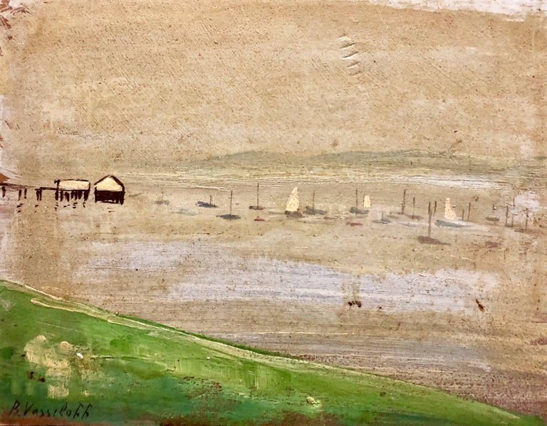 Boris Vassiloff Landscape Painting - Marinescape with Boat Long Island NYC Oil Painting