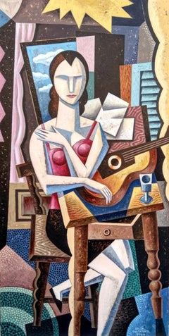 Amelie con Guitarra - original cubism female figurative painting contemporary