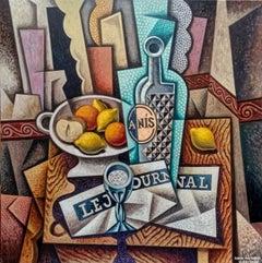 Anis - original cubism portraiture painting figurative piece still life