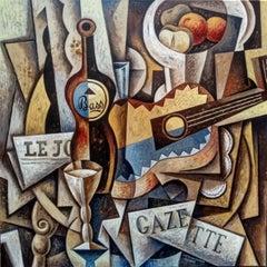 Bass-original acrylic cubism STILL LIFE painting-21St Century-Contemporary Art