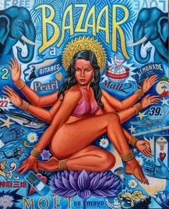 Bazaar - original cubism portraiture painting nude figurative contemporary art