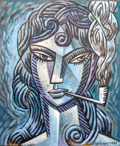 Blue Woman original cubism painting