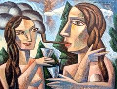 Brindis en el Bosque - original cubism figurative portrait modern painting