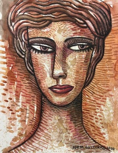Brown Face - original portrait still life painting cubism modern abstract