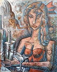 Camarera con Pipa - original cubism portraiture painting female figurative piece