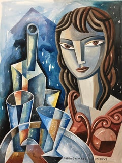 Camarera - original portrait female painting modern contemporary cubism