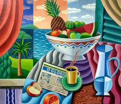 Coffee & Fruit original still life cubism painting Contemporary Art 21st Century