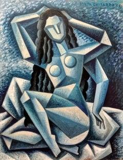Dama Desnuda-original figurative cubism female form painting contemporary modern