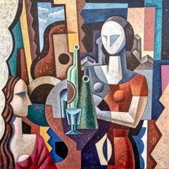 Dos Mujeres - original Figurative cubism painting contemporary art 21st century