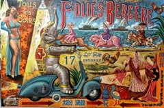 Folies Bergere - mixed media cubism painting Contemporary Art 21st Century form