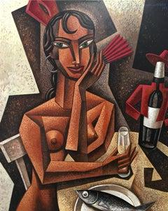 Gitanilla - original surreal female figure cubism painting contemporary modern