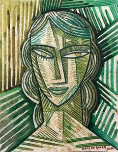 Green Face - original portrait colourful still life painting cubism modern