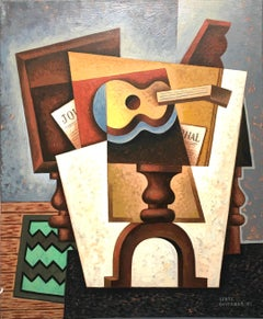 Guitar  & Diary original cubism painting