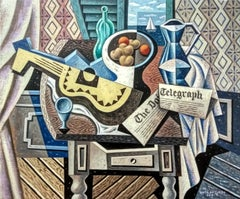 Guitarra Amarilla original abstract cubism painting Contemporary  21st Century