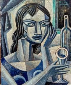 La Griega - original female figurative person contemporary cubism painting