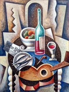 La Mesa Negra - original cubism still life painting contemporary modern abstract