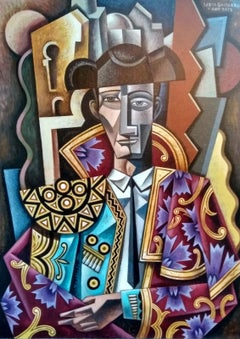 Manolete - abstract figurative cubism painting Contemporary  21st Century