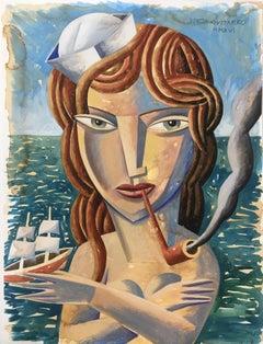 Marinera - original portrait nude painting modern contemporary cubism