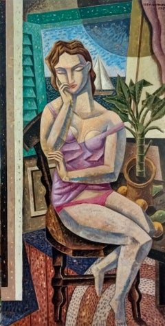 Meditando - original cubism nude painting female figurative Contemporary Art