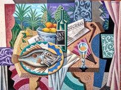 Mediterranean Still Life I - cubism still life colourful artwork Contemporary