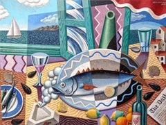 Mediterranean Still Life II - original abstract fruit Contemporary colourful