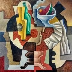 Mesa Con Frutero- original cubism portraiture painting female figurative piece