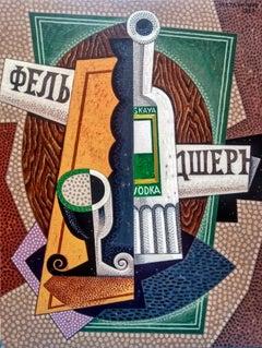 Moskovskaya - original cubism still life  painting Contemporary Art