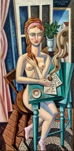 Mujer con Cafe - original cubism portraiture painting nude figurative modern art