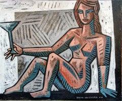 Mujer con Copa - original figurative cubism painting contemporary modern art